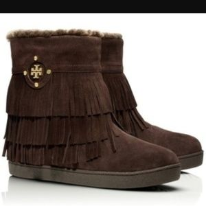 Tory Burch Collins Suede Fringe Fur Boots 8
